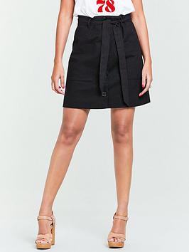 michelle-keegan-button-front-linen-mini-skirt-black