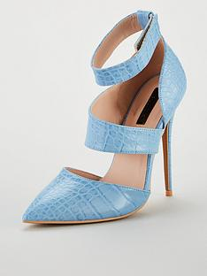 8736c888b29 Lost Ink laudie Textured Wide Strap Court - Blue