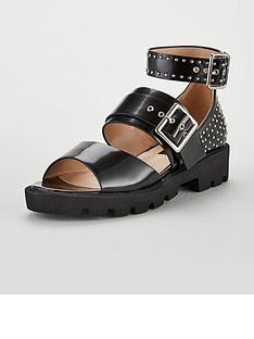 b1dcd41f2ba7 Lost Ink Sabby Cleated Chunky Studded Ankle Sandals - Black
