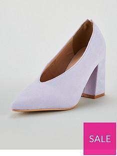 ca7214b1631d Lost Ink Cindy High Vamp Block Heeled Shoes - Purple