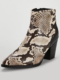 7c3f5af34c6c Lost Ink Amber Block Heeled Animal Printed Ankle Boots - Snake