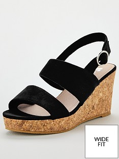 943c8b209 V by Very Giselle Wide Fit Double Strap Wedge Sandals - Black