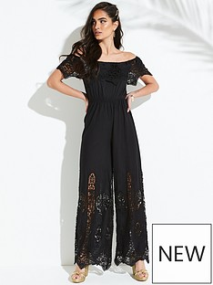 b9b0c047cc2 V by Very Embroidered Cutwork Bardot Jumpsuit - Black