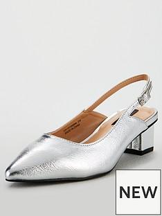 eedcf5b4921 Lost Ink Wide Fit Jolie Kitten Slingback Shoes - Silver