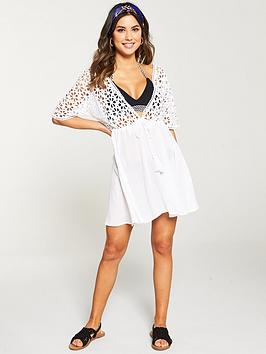 v-by-very-cutwork-embroidery-tassel-front-beach-dress-white