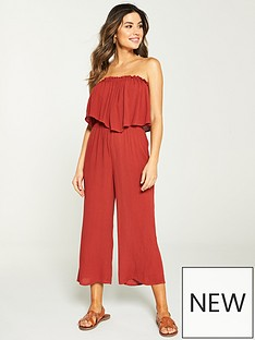 c46ec8a0685 V by Very Frill Bandeau Beach Jumpsuit - Terracotta