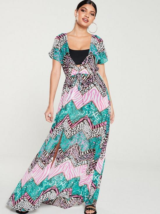 64663fae3b91 V by Very Beach Chiffon Print Maxi Dress - Animal Print | very.co.uk