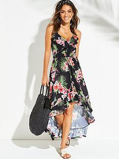 628176f02d1 V by Very Jersey Dipped Hem Frill Trim Maxi Beach Dress - Black Floral