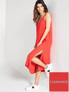 tommy-jeans-midi-dress-red