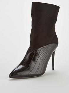 8f3fd84abeb Lost Ink Ava Croc Texture Stiletto Ankle Boot - Black