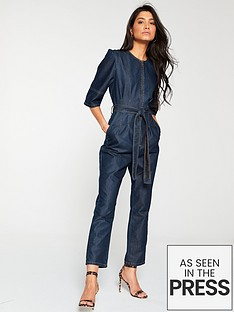076fcb89a0ab V by Very Denim Tencil Jumpsuit - Dark Wash