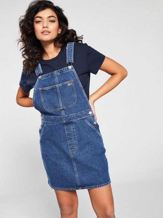 31f19fefa Tommy Jeans Classic Dungaree Dress - Mid Blue | very.co.uk