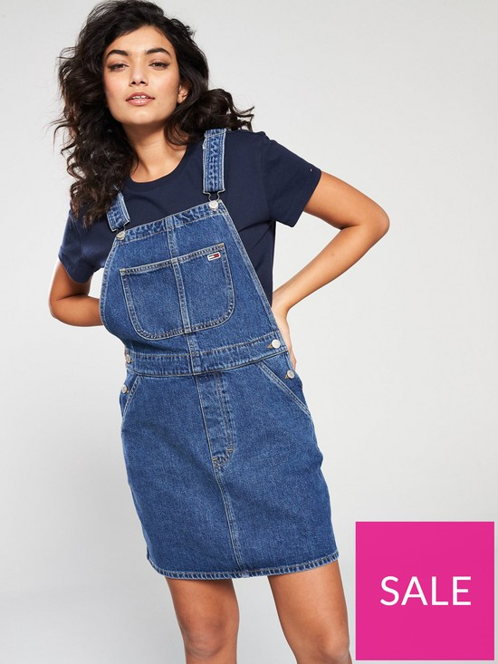 76fc84b9b6b Tommy Jeans Classic Dungaree Dress - Mid Blue | very.co.uk