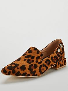 bbc265ff76a Lost Ink Bonnie Double Stud Flat Shoe - Animal