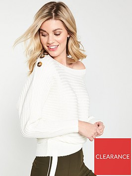 v-by-very-batwing-button-detail-rib-jumper-white
