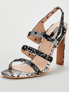 6f54dc49a9b9 Lost Ink Lost Ink Robin Studded Square Toe Heeled Sandal