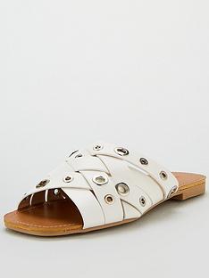 25e185a5bb1 Lost Ink Samm Eyelet Detail Flat Sandal