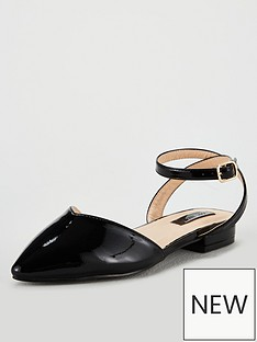 0eac66996e8 Lost Ink Wide Fit Kim Ballerina with Ankle Strap - Black