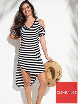 v-by-very-dipped-back-twist-cold-shoulder-beach-dress-ndash-monochrome