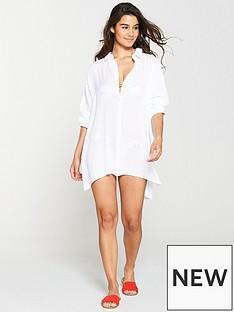fd79daf345d V by Very Long Sleeve Crinkle Beach Shirt - White