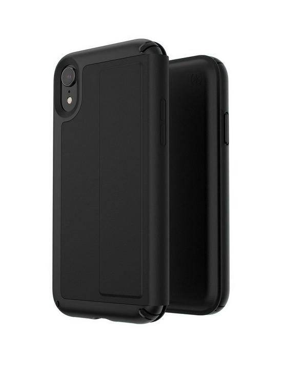 super popular 6b0c6 ba658 Presidio Folio Leather Case for iPhone XR - Black/Black
