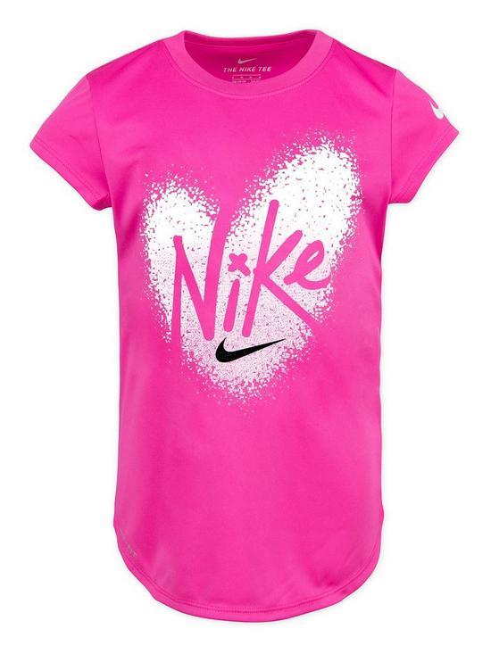8f3633ef58a0 Nike Younger Girls Pixel Heart Drop Tail T-Shirt - Pink   very.co.uk