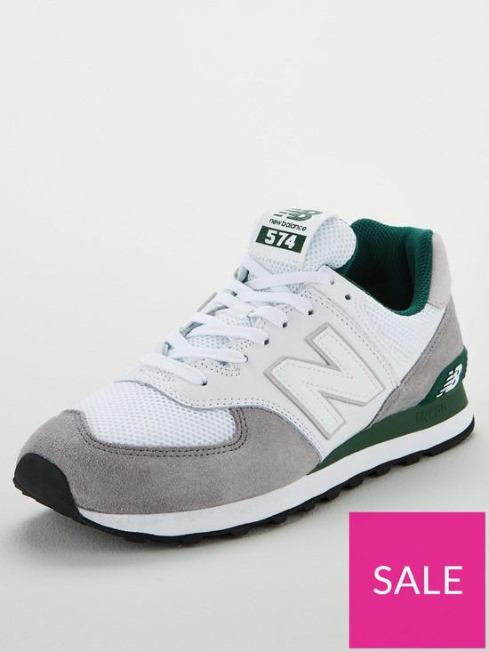 1df84f4f9c4 New Balance 574 - White/Grey/Green | very.co.uk