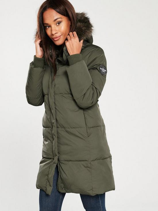 d735e4854 Cocoon Parka Coat With Faux Fur Hood - Khaki