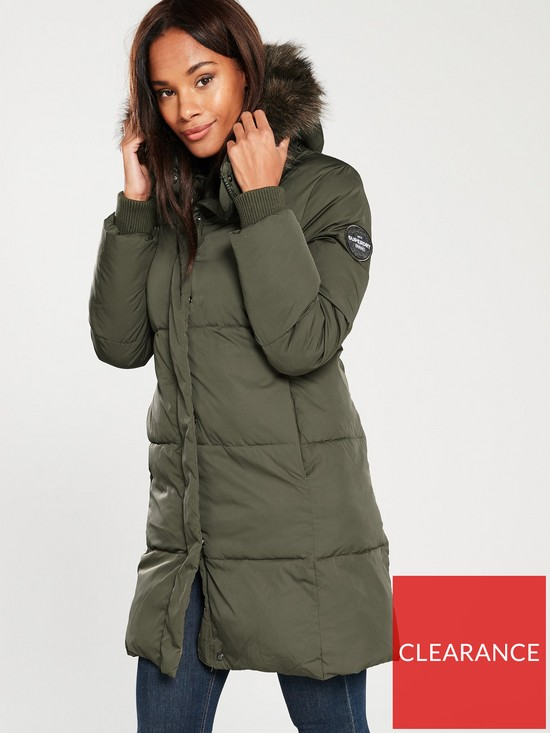 Superdry Cocoon Parka Coat With Faux Fur Hood - Khaki  c075a7ead3a