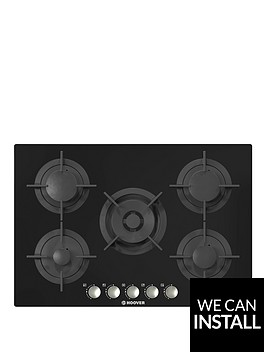 hoover-hgv75smwcgb-75cmnbspwide-built-in-gas-hob-with-optional-installation-black-glass