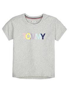 daa574cb9f00a Tommy Hilfiger Girls Short Sleeve Colour Logo T-shirt - Grey