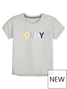 253ec5efaed63 Tommy Hilfiger Girls Short Sleeve Colour Logo T-shirt - Grey