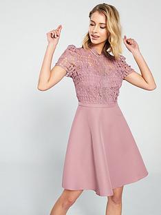 587da3c2569 Little Mistress Crochet Top Skater Mini Dress - Blush
