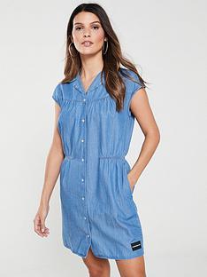 92b8f04498 Calvin Klein Jeans Cap Sleeve Western Dress - Denim