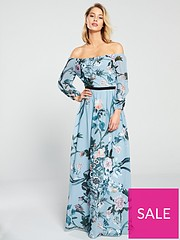 d2e796e4e240 Little Mistress Little Mistress Bardot Floral Printed Maxi Dress