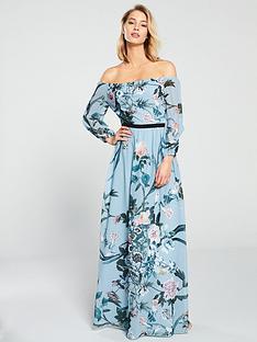33d2c1342fe Little Mistress Little Mistress Bardot Floral Printed Maxi Dress