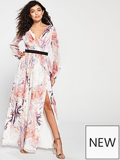 ec0122e9f9 Little Mistress Floral Printed Maxi Wrap Dress - Multi