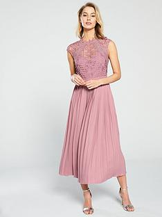 dce4e97cf22 Little Mistress Crochet Top Pleated Skirt Midaxi Dress - Blush