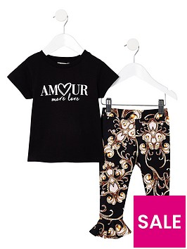 river-island-mini-mini-girls-amour-tshirt-with-printed-leggings-set
