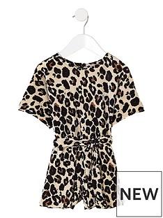 river-island-mini-mini-girls-brown-plisse-leopard-playsuit