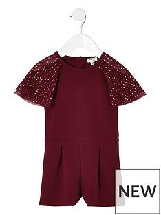 river-island-mini-mini-girls-burgundy-mesh-sleeve-playsuit