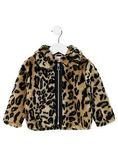 a3568be2ab12 River Island Mini Girls Brown Leopard Print Faux Fur Coat