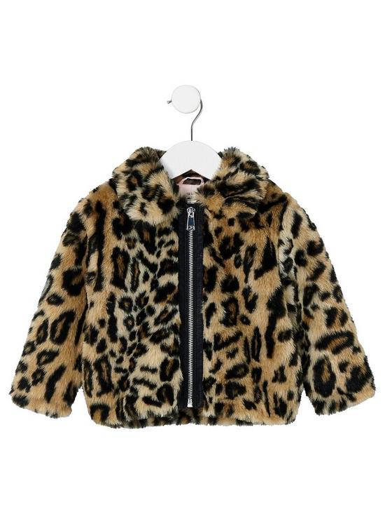 2859b62a808d River Island Mini Girls Brown Leopard Print Faux Fur Coat