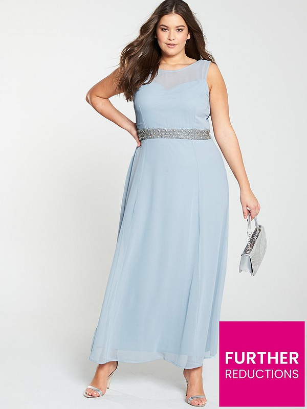search for clearance big selection hot sale online Beaded Waist Bridesmaid Maxi Dress - Light Blue