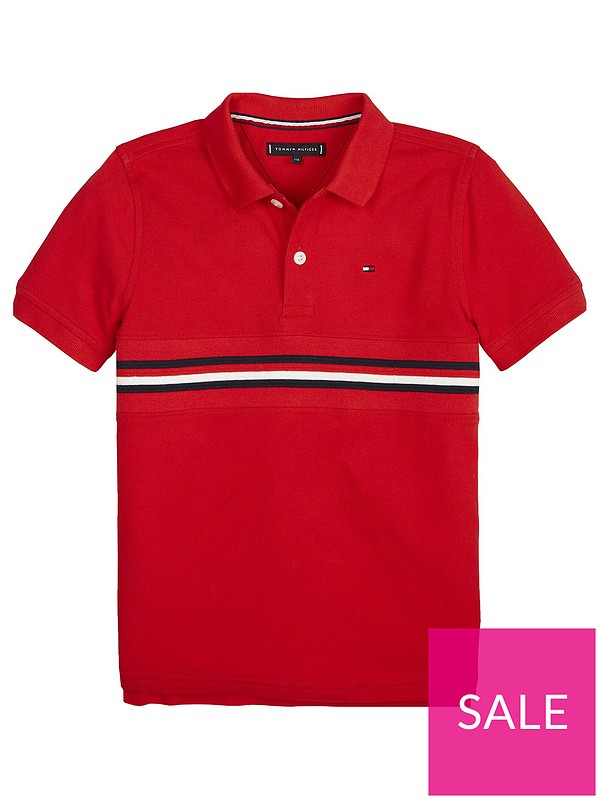 3533502a Tommy Hilfiger Boys Short Sleeve Flag Insert Polo Shirt - Red | very ...