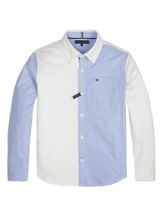 5bcdab757 Tommy Hilfiger Boys Long Sleeve Colour Block Shirt - White | very.co.uk
