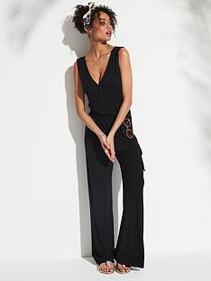 b69eea04efa V by Very Belted Wrap Wide Leg Jumpsuit - Black