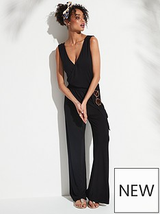 659f9442ac2 V by Very Belted Wrap Wide Leg Jumpsuit - Black