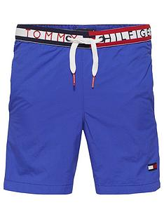 2f377d99282c Tommy Hilfiger Boys Logo Waistband Swim Shorts - Blue