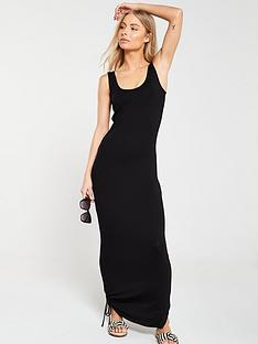 f29ce4767d321 V by Very Side Gather Jersey Maxi Dress - Black